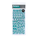 American Crafts - Heat Wave Collection - Thickers - Glitter Chipboard Alphabet Stickers - Niki Riki - Aqua, BRAND NEW