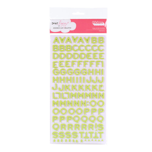 American Crafts - Dear Lizzy Enchanted Collection - Thickers - Foam Alphabet Stickers - Fantastic - Limeade, CLEARANCE