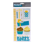 American Crafts - Confetti Collection - Thickers - Glitter Puffy Stickers - Cheer Accents - Blue