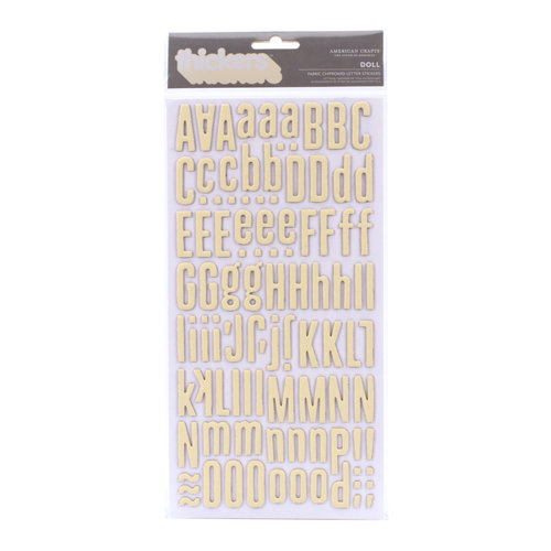 American Crafts - Peachy Keen Collection - Thickers - Chipboard Alphabet Stickers - Fabric - Doll - Vanilla
