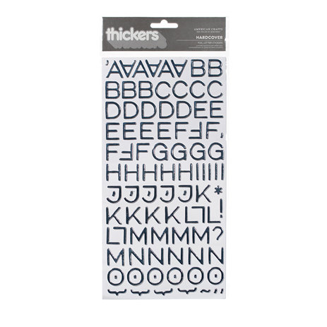 American Crafts - Thickers - Foil Chipboard Alphabet Stickers - Hardcover - Silver