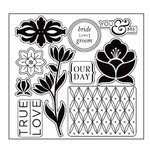 American Crafts - I Do Collection - Clear Acrylic Stamp Set - Boutonniere, CLEARANCE