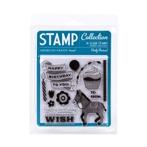 American Crafts - Confetti Collection - Clear Acrylic Stamps - Party Animal