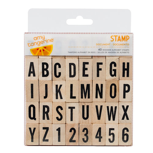 American Crafts - Amy Tangerine Collection - Yes, Please - Wood Alphabet Stamp Set - Document