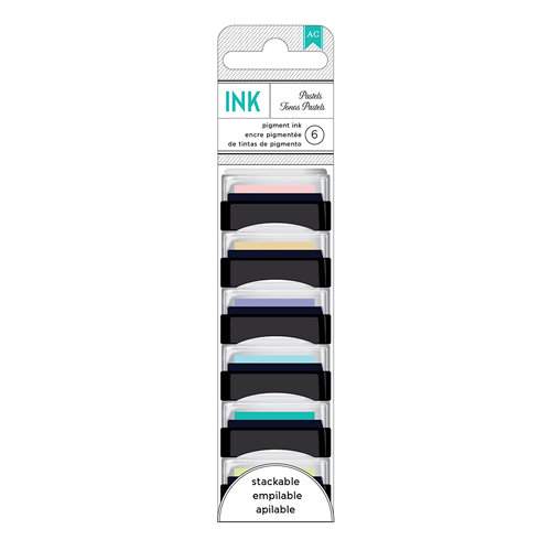 American Crafts - Mini Pigment Ink Pad Set - 6 Pack - Pastels