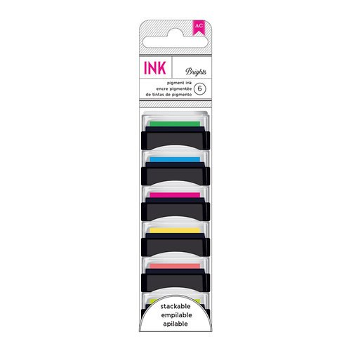 American Crafts - Mini Pigment Ink Pad Set - 6 Pack - Brights