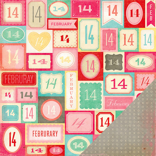 American Crafts - Crate Paper - Fourteen Collection - 12 x 12 Double Sided Paper - February