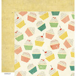 American Crafts - Crate Paper - Party Day Collection - 12 x 12 Double Sided Paper - Cupcakes