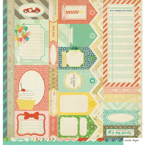 American Crafts - Crate Paper - Party Day Collection - 12 x 12 Double Sided Paper - Cut Outs