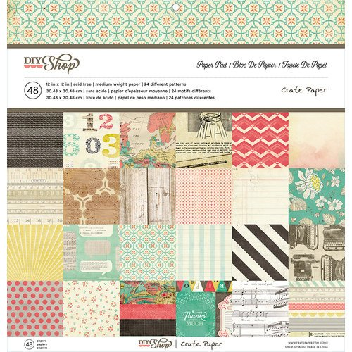 American Crafts - Crate Paper - DIY Shop Collection - 12 x 12 Paper Pad