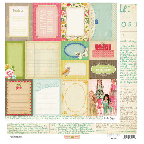 American Crafts - Crate Paper - Pretty Party Collection - 12 x 12 Double Sided Paper - Accent Cuts