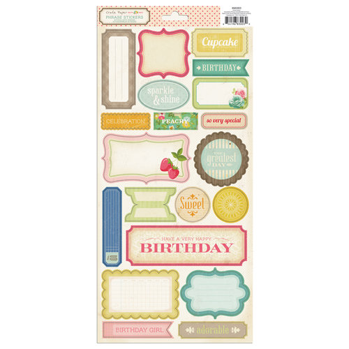 American Crafts - Crate Paper - Pretty Party Collection - Cardstock Stickers - Phrase