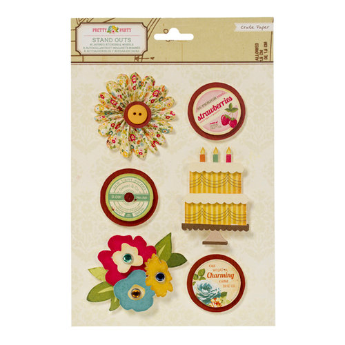 American Crafts - Crate Paper - Pretty Party Collection - Stand Outs - Layered Stickers and Wheels