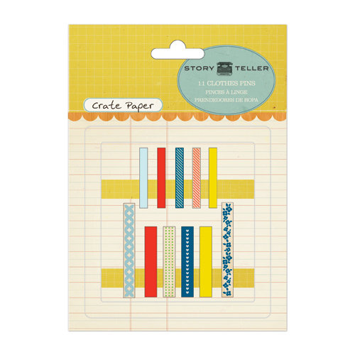 American Crafts - Crate Paper - Story Teller Collection - Clothes Pins