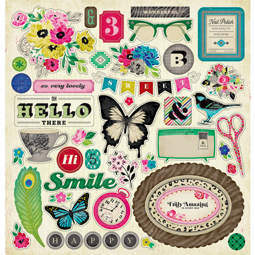 American Crafts - Crate Paper - On Trend Collection - 12 x 12 Chipboard Stickers