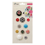 American Crafts - Crate Paper - On Trend Collection - Mixed Brads and Buttons