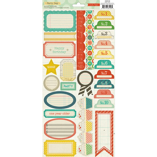 American Crafts - Crate Paper - Party Day Collection - Cardstock Stickers - Labels and Borders