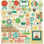 American Crafts - Crate Paper - Party Day Collection - 12 x 12 Chipboard Stickers