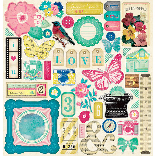 American Crafts - Crate Paper - Maggie Holmes Collection - 12 x 12 Chipboard Stickers