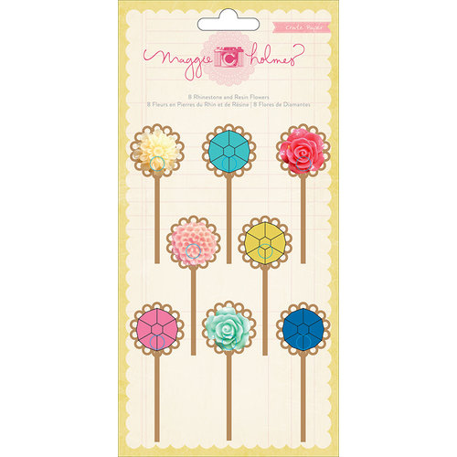 American Crafts - Crate Paper - Maggie Holmes Collection - Rhinestone and Resin Flower Clips