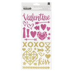 Crate Paper - Kiss Kiss Collection - Thickers - Glitter Foam Stickers- Valentine Accents - Gold and Pink