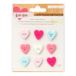 Crate Paper - Kiss Kiss Collection - Resin Candy Heart Brads