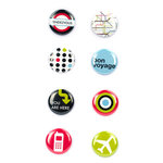 American Crafts - Flair - Travel - 8 Adhesive Badges - Bon Voyage