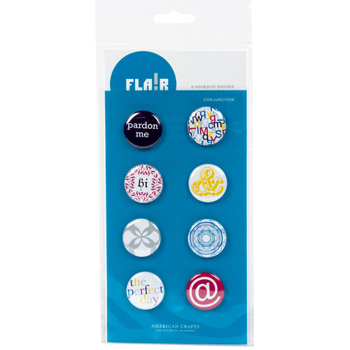 American Crafts - Flair - Character - 8 Adhesive Badges - Conjunction, CLEARANCE