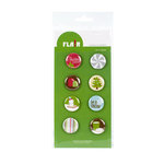 American Crafts - Flair - Christmas - 8 Adhesive Badges - Let It Snow, CLEARANCE