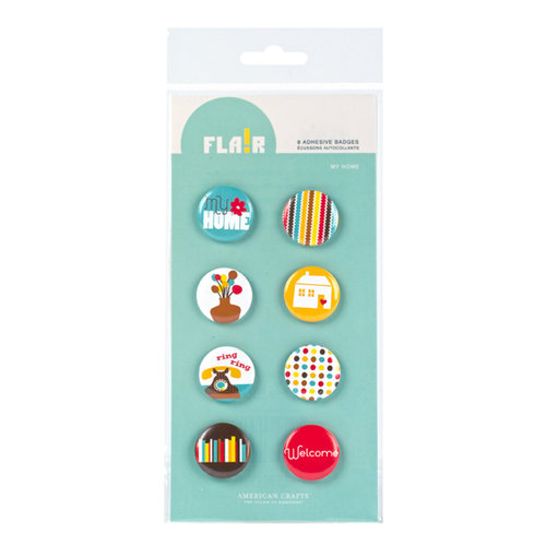 American Crafts - Abode Collection - Flair - 8 Adhesive Badges - My Home, CLEARANCE