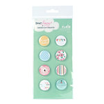 American Crafts - Dear Lizzy Spring Collection - Flair - 8 Adhesive Badges - Shiny, CLEARANCE