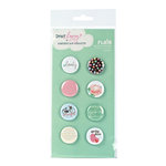 American Crafts - Dear Lizzy Spring Collection - Flair - 8 Adhesive Badges - Springy, CLEARANCE