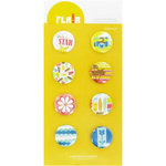 American Crafts - Heat Wave Collection - Flair - 8 Adhesives Badges - Surf's Up, CLEARANCE