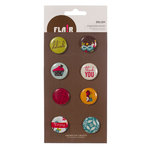 American Crafts - Garden Cafe Collection - Flair - 8 Adhesive Badges - Delish