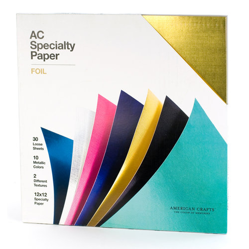 American Crafts - 12 x 12 Specialty Cardstock Pack - 30 Sheets - Foil