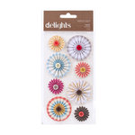 American Crafts - Peachy Keen Collection - Delights - 3 Dimensional Stickers - Twist Pinwheel Flowers