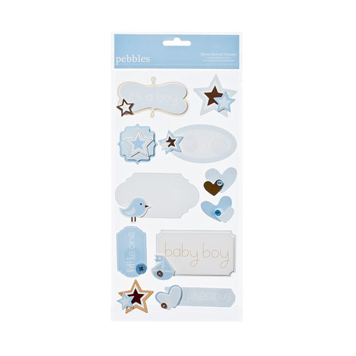 American Crafts - Pebbles - New Addition Boy Collection - 3 Dimensional Stickers - Phrases and Icons