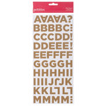 American Crafts - Pebbles - Country Picnic Collection - Stickers - Corrugated Alphabet - Natural