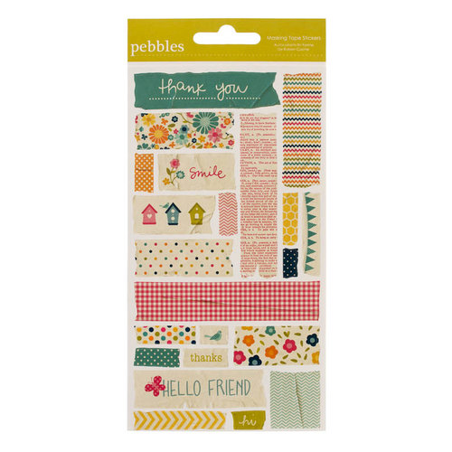 American Crafts - Pebbles - Sunnyside Collection - Embossed Stickers - Masking Tape