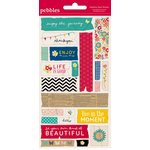 American Crafts - Pebbles - Walnut Grove Collection - Embossed Stickers - Masking Tape