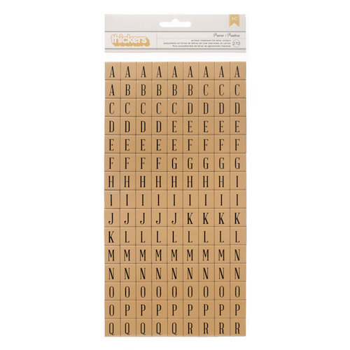 American Crafts - Pebbles - Walnut Grove Collection - Thickers - Chipboard Tile Alphabet Stickers - Prairie - Kraft