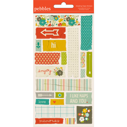 American Crafts - Pebbles - Seen and Noted Collection - Embossed Stickers - Masking Tape