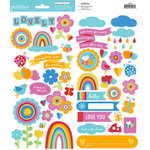 American Crafts - Pebbles - Party with Amy Locurto - Cardstock Stickers - Accent and Phrase - Rainbow