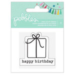 Pebbles - Birthday Wishes Collection - Clear Acrylic Stamp - Happy Birthday Present