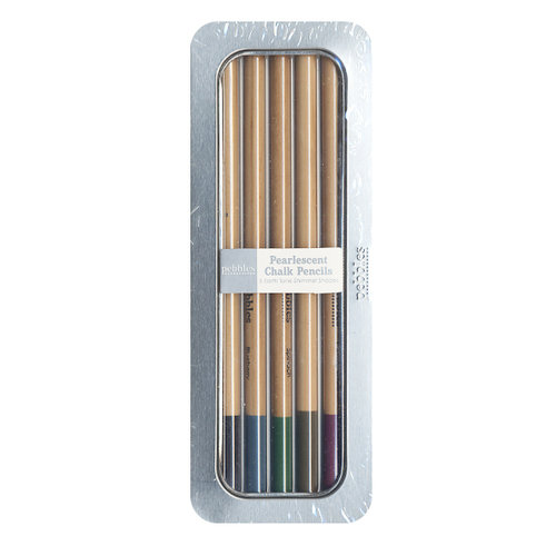 American Crafts - Pebbles - Chalk Pencil Set - 5 Piece - Pearlescent - Earth Tones