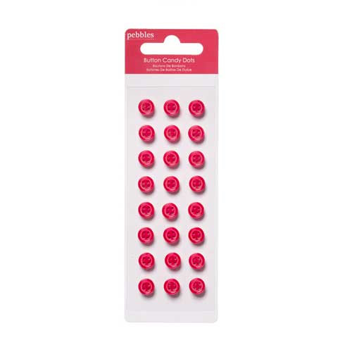 American Crafts - Pebbles - Welcome Christmas Collection - Self Adhesive Candy Dots - Crimson Buttons