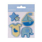 American Crafts - Pebbles - Layered Felt Embellishments - Baby Boy
