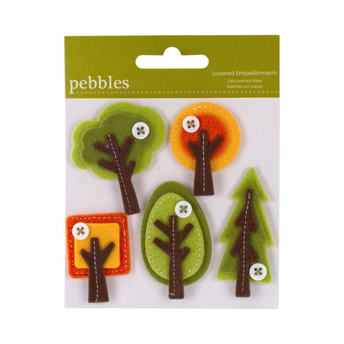 American Crafts - Pebbles - Layered Felt Embellishments - Trees