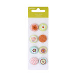 American Crafts - Pebbles - Happy Go Lucky Collection - Fabric Brads