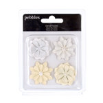 American Crafts - Pebbles - Mr and Mrs Collection - Self Adhesive Molded Metal Flowers